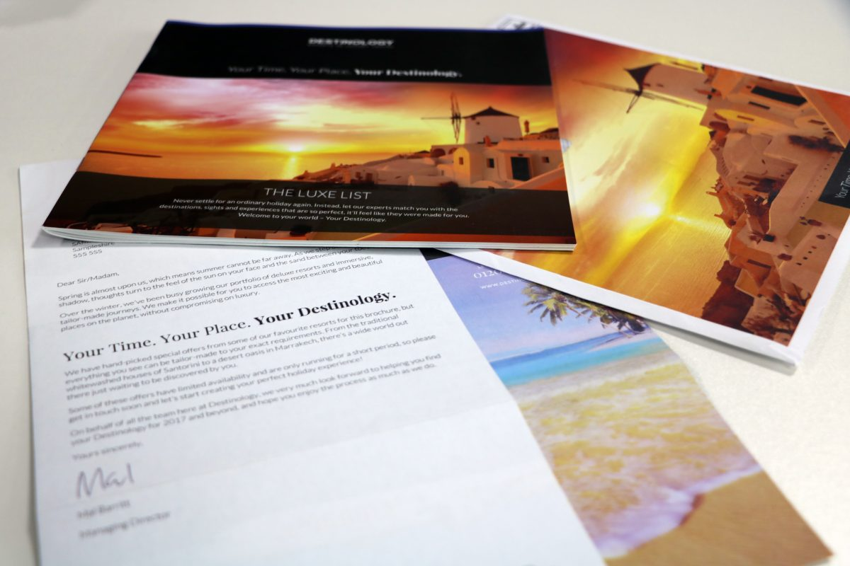 Destinology brochure and stationery